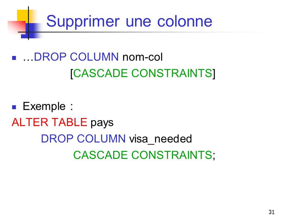 Supprimer une colonne …DROP COLUMN nom-col [CASCADE CONSTRAINTS]